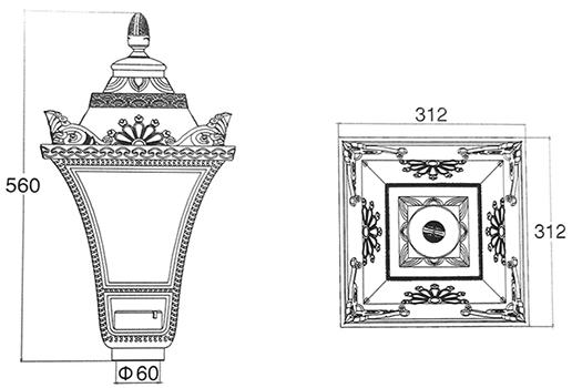 Габаритные размеры светильника ДТУ-Retro