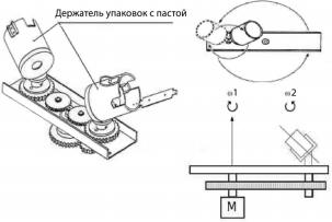 Рабочий механизм устройства автоматического перемешивания пасты