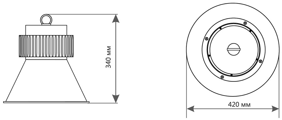 Габаритные размеры светильника ДСП-LED-621-100W-4000K-КС